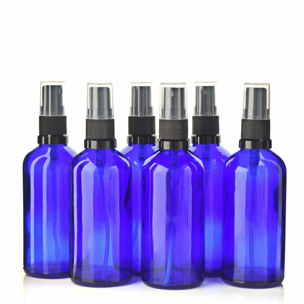 6 X 100ml New Cobalt Blue Glass Bottle With Fine Mist Spray for Aromatherapy Perfume Essential oils Empty Cosmetic Containers 2pcslot 15ml cc hollow out copper color middle east essential bottle for oils perfume empty glass bottle for wedding decor