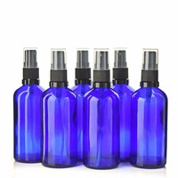 6 X 100ml Cobalt Blue Glass Bottle With Fine Mist Spray For Aromatherapy Perfume Essential Oils