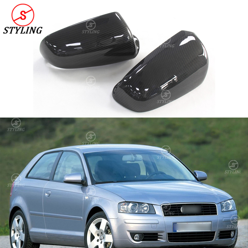 For Audi A3 A4 B7 S6 Carbon Fiber Rear side view cap mirror cover Gloss Black Finish Replacement Style B7 Mirror Cover 2004-2008