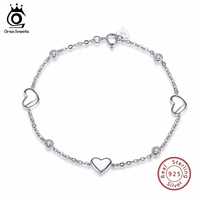 ORSA JEWELS 925 Sterling Silver Bracelet For Women With 3 Pieces Genuine Heart Charm