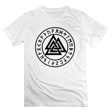 Print T Shirt Men Summer Style FashiMen's Valknut Rune Circle Odin Trinity Symbol Viking Funny Cool Cotton Short Sleeve T Shirts