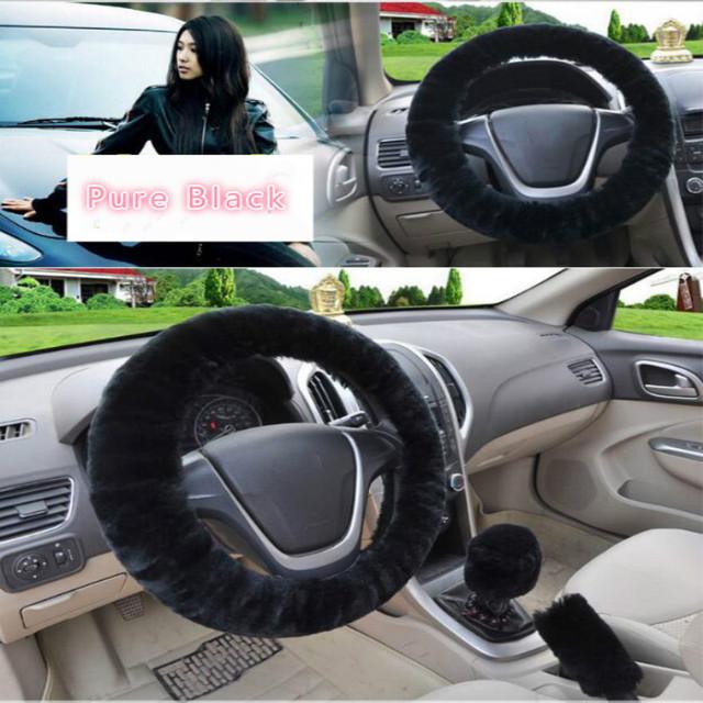 Cubierta Universal de volante de coche de felpa de invierno cubierta de volante de piel sintética cubierta de engranaje de freno de mano conjunto Interior del coche accesorios