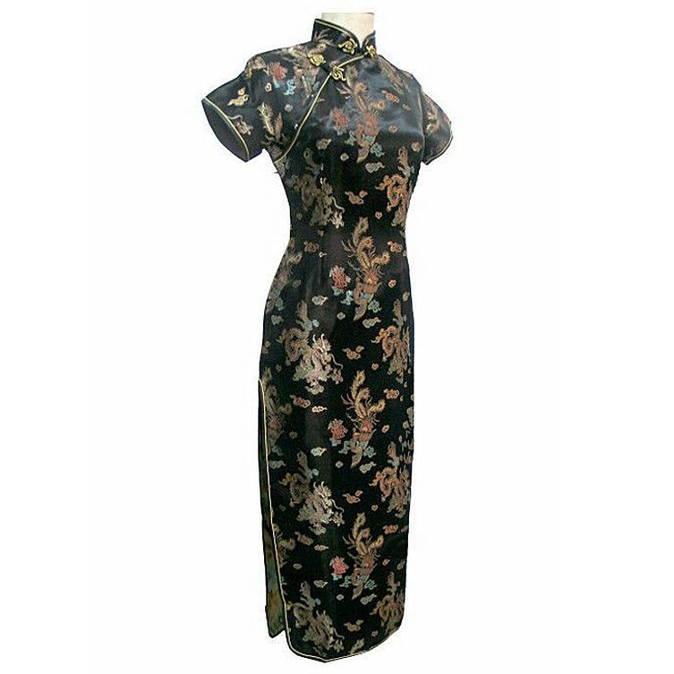 Cheongsam Qipao Robe longue traditionnelle chinoise noir, femmes, taille plus