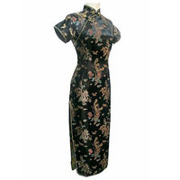 Black Traditional Chinese Womens Satin Long Cheongsam Qipao Evening Dress Clothing Plus Size S M L