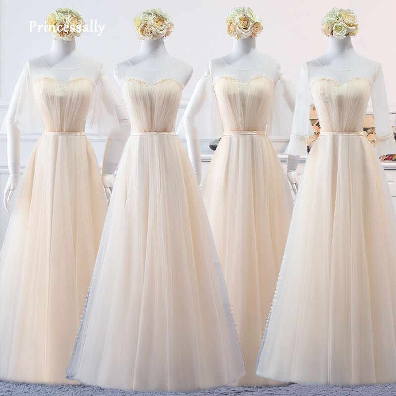 Champagne Bridesmaid Dresses Long Tulle