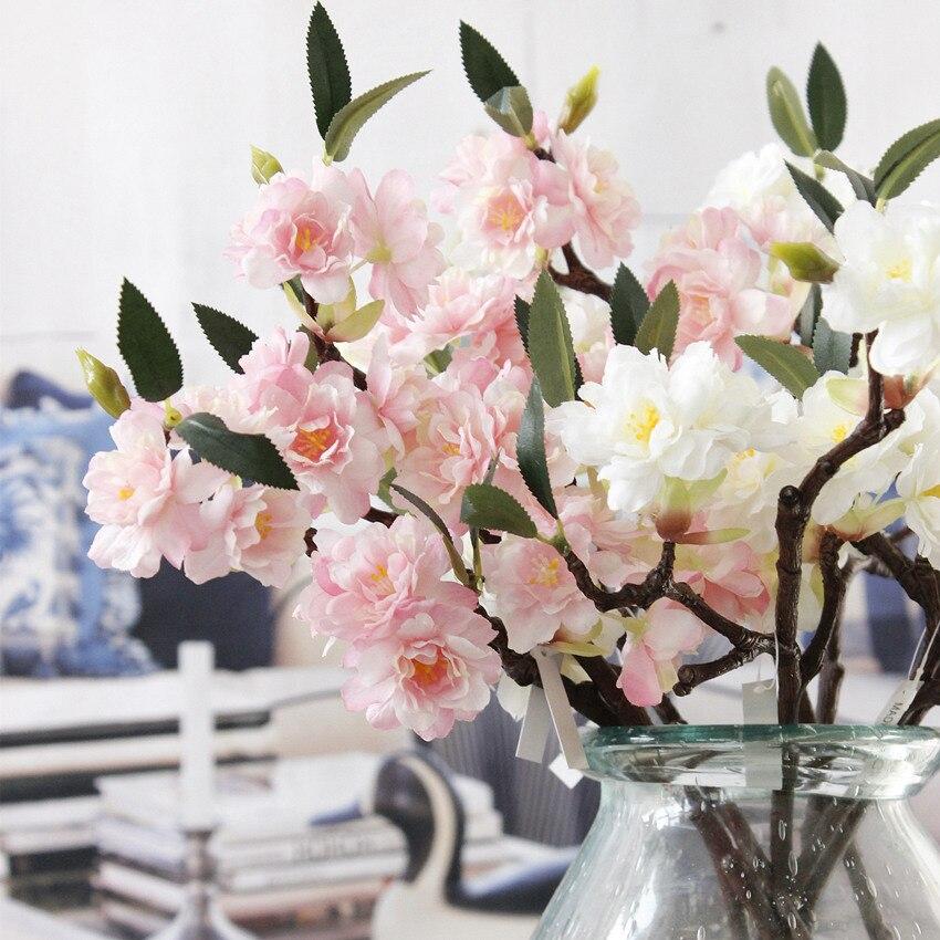 5Pcs Artificial Sakura Cherry blossoms Silk flowers flores