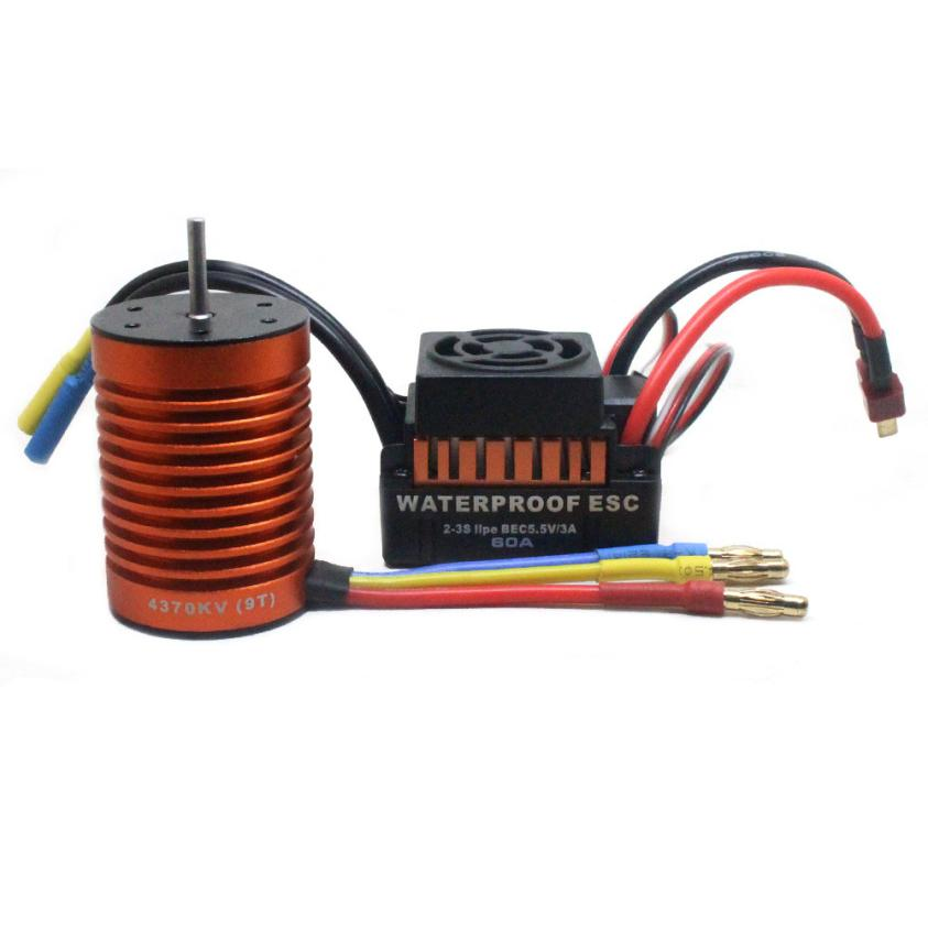 9T 4370KV Brushless Motor + 60A ESC Speed Controller Combo ME720 for 1/10 RC Car Z1026 skyrc leopard 60a esc brushless motor 9t 4370kv 1 10 car combo with program card for car boat