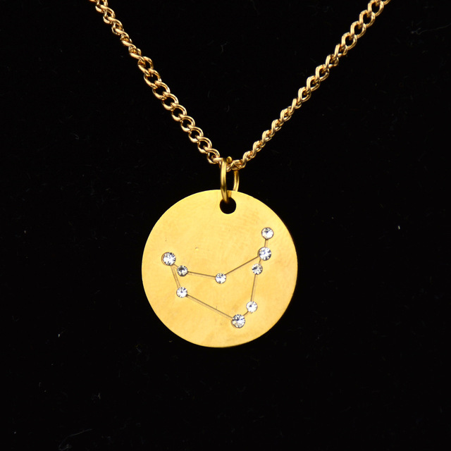 New Trendy Star Zodiac Sign Necklaces & Pendants Stainless Steel 12 Constellation Necklace for Women Birthday Gift Jewelry 2