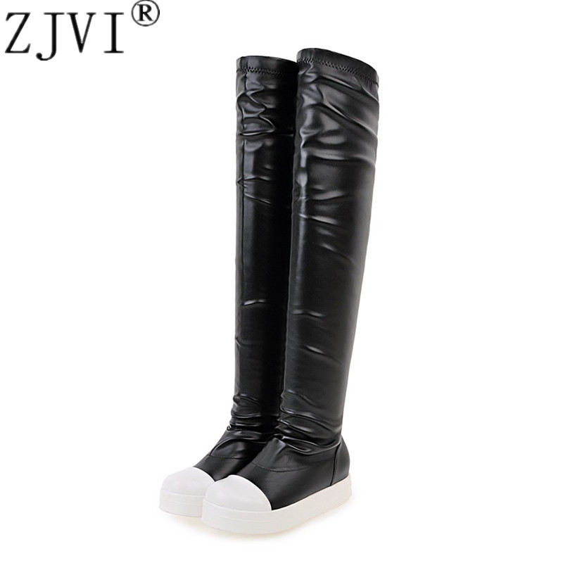 ZJVI woman over the knee boots for women winter autumn thigh high snow platform ladies waterproof black flats shoes