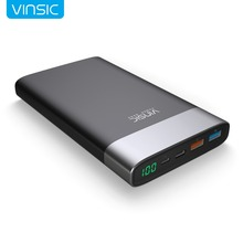 Vinsic Terminator P3 20000mAh Power Bank QC3.0 Quick Charge 3.0 2.4A Dual USB + Type-C LED Display For Samsung iPhone Xiaomi