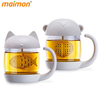 Eco-friendly Double Wall Glass Cup with Tea Strainer Infuser Handle Cartoon Cat Monkey Glass Drinking Cup Birthday Gifts