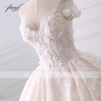 Fmogl Sexy Sweetheart Lace Ball Gown Wedding Dresses 2019 Applique Beaded Flowers Chapel Train Bride Gown Vestido De Noiva 3