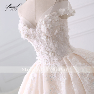Image 3 - Fmogl seksi sevgiliye dantel balo gelinlik 2020 aplike boncuklu çiçekler şapel tren gelin kıyafeti Vestido De Noiva