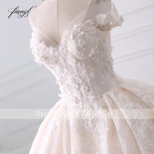 Fmogl Сексуальное Милое кружевное бальное платье, платье для свадьбы 2020, с аппликацией из бусин и цветов, с длинным шлейфом, платье для невесты