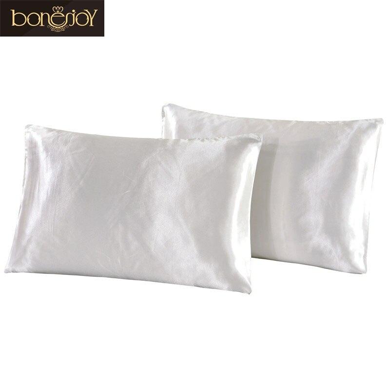 Bonenjoy White Color Pillowcase Satin Silk Pillow Shams