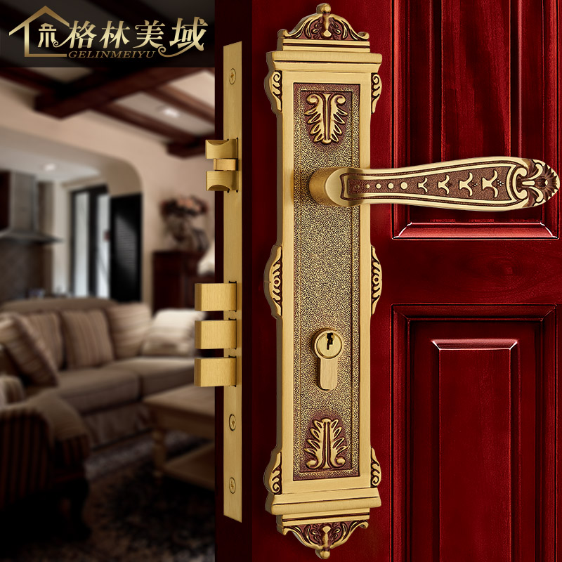 European-style copper door lock all copper room door lock interior solid wood door lock American villa door lock top quality 304 stainless steel interior door lock big 50 small 50 series bedroom door anti insert handle lock