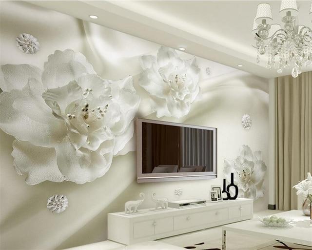 Beibehang 3D Wallpaper Elegant White Large Silk Flower Wallpaper Living Room  Bedroom TV Wall Murals Wallpaper