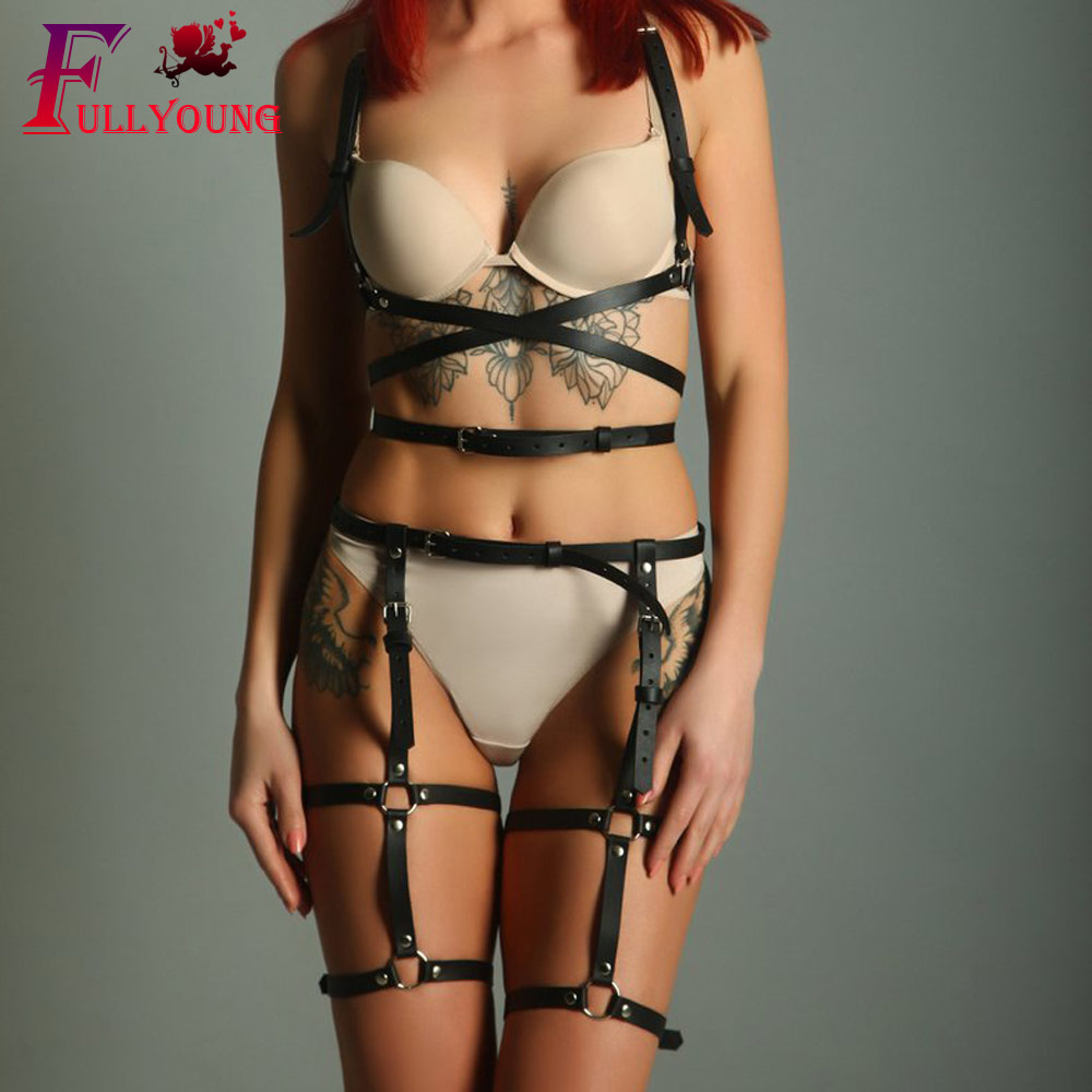 Fullyoung HARNESS 2Pcs Set Sexy Leather Harness Garter Women Body Cage Waist To Leg Bondage Chest Belt For