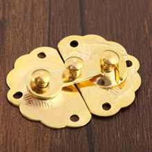 2Pcs Gold Iron Latches Catches 35*45mm Hasps Clasp Buckles Small Lock for Jewelry Wood Box Suitcase Furniture Hardware(China)