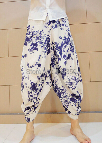 Blue-and-white Low Dropped Crotch Linen Harem Pant Mens Original Design Fashion Flower Loose Casual Summer Brand Beach Trousers 2015 HOT NEW (6).jpg