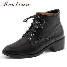 Meotina/Зимние ботильоны из натуральной кожи; женские короткие ботинки со шнуровкой на блочном каблуке; обувь из коровьей кожи с круглым носком; Женская Осенняя обувь; размеры 34-39