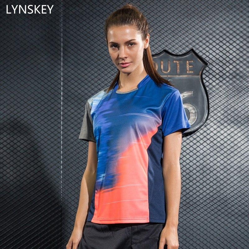 Лински короткие Теннис рубашка Для женщин Бадминтон Настольный теннис рубашка дышащая быстросохнущая Training спортивная одежда Майки