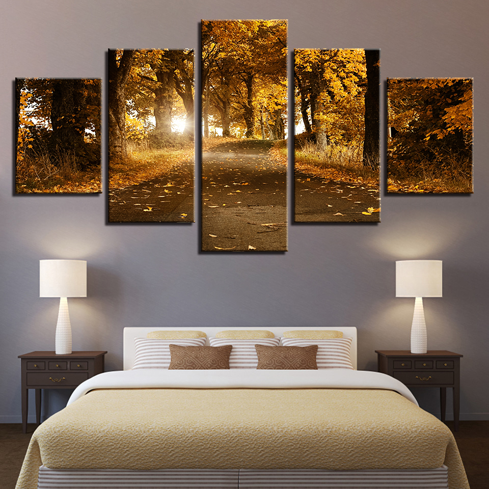Canvas Paintings Home Decor HD Prints Trees Pictures 5 Pieces Autumn Forest Fallen Leaves Landscape Poster Living Room Wall Art