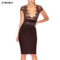 ERDAOBEN Black Lace Long Sleeve Sexy Women New Arrival 2017 Knee Length Summer Bodycon Bandage Dress