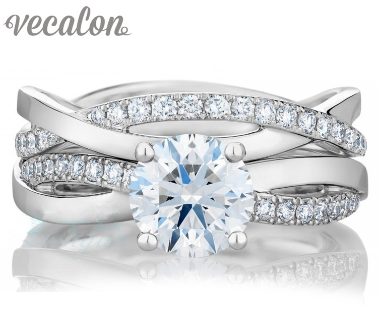 Vecalon 2016 fashion Engagement wedding ring Set for women 1ct AAAAA Zircon Cz 925 Sterling Silver
