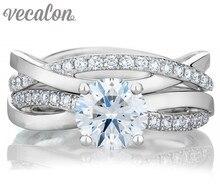 Vecalon 2016 мода AAAAA Циркон свадьба Обручальное кольцо Набор для женщин 1ct Cz Стерлингового Серебра 925 Женщин кольцо Диапазона R200