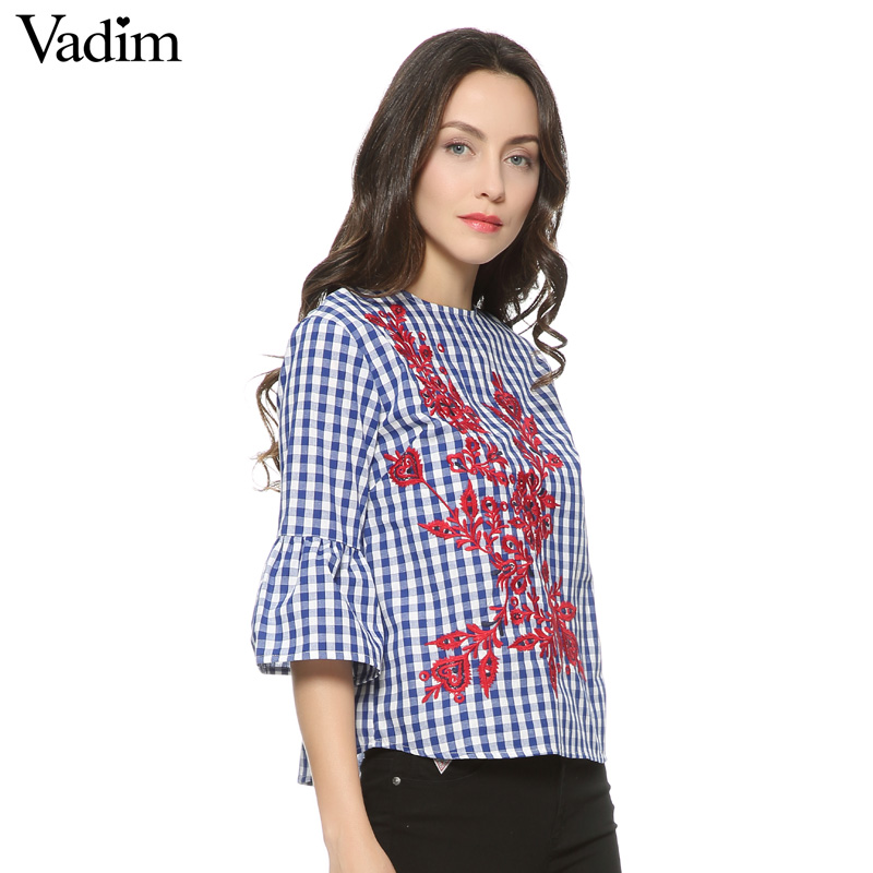 HTB1oT8 QFXXXXXqXFXXq6xXFXXXT - Women floral embroidery plaid blouse sleeve loose shirts fashion