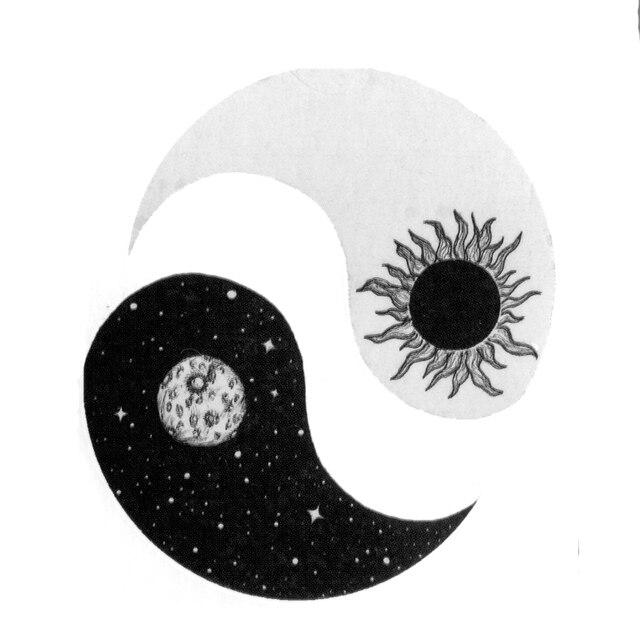 Soleil Et Lune Yin Et Le Yang Impermeable Temporaire Tatouages
