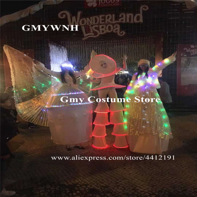 C26 Ballroom dance RGB colorful light led costumes stilts robot men wears dress performance outfit luminous glowing clothe disco
