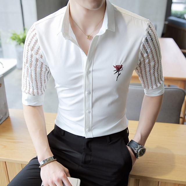 f6337b545e2d0e 2019 Mens See Through Shirts Man Lace Shirts White Transparent Shirts Mesh  Stripe Camisa Social Slim Fit Black Sexy Club Outfits