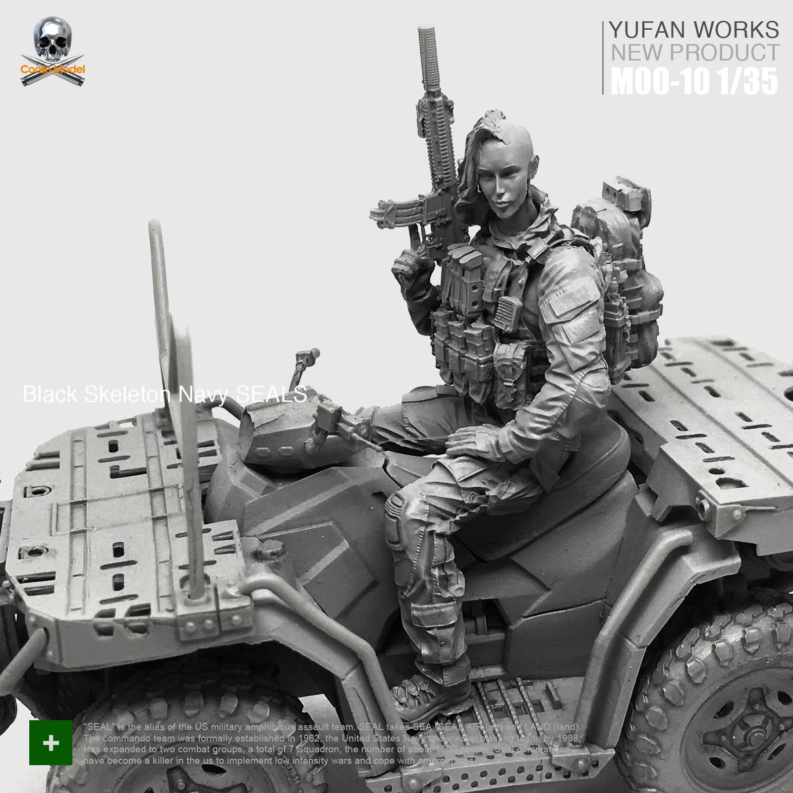 Yufan Model 1 35 Resin Figure Female Soldier Terrain Car US Military Seal Commando Beauty Driver