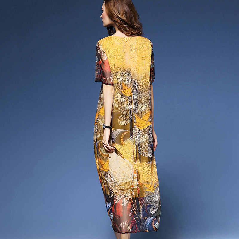 744f59e00bc H роскошное желтое платье Летнее шифоновое платье Одежда большого размера с рисунком  длинное платье ...