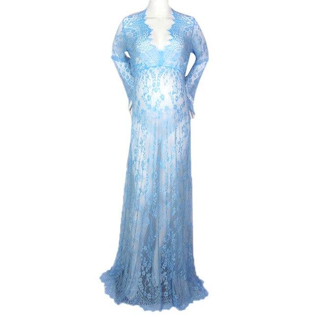 2017 marca 6 cores sexy lace maternidade gestante dress saia longa manga longa roupas para a mulher grávida frete grátis