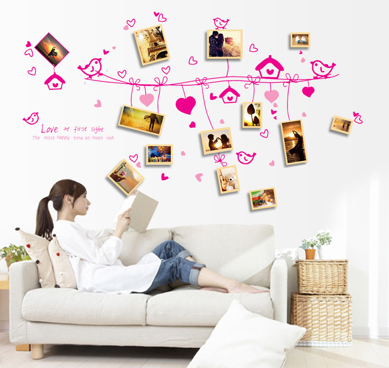 Pink Birds Heart Shape Rope Picture Wall Sticker Photo Frame Wall - Wall decals in pakistan