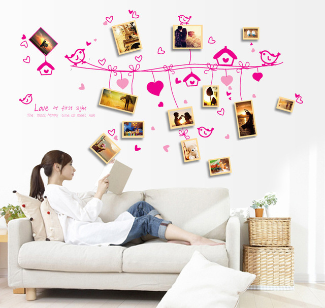 Pink Birds Heart Shape Rope Picture Wall Sticker Photo Frame Wall ...