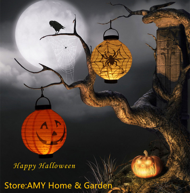 1 pcs halloween decoration led paper diy pumpkin light hanging lantern lamp halloween props outdoor party supplies decor scary