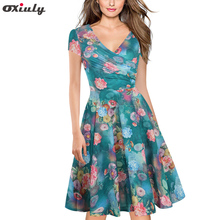 ФОТО oxiuly plus size  bamboo leaf floral print ruffle v neck dress short sleeve knee length ladies casual a-line dresses vestidos