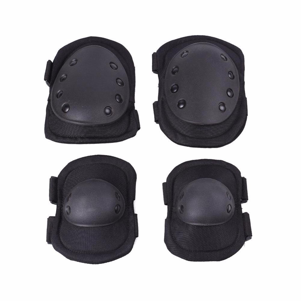 Relefree 4Pcs Tactical Protective Knee Pad Elbow Support Hunting Paintball Combat Knee Protector Skateboard Equipment Elbow Set