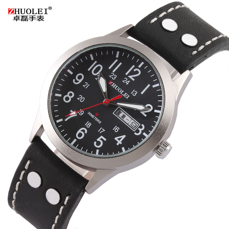 2014 New Zhuolei Men Watches Business Quartz Wristwatches Leather Watch Band Strap 2014 New Fashion Casual
