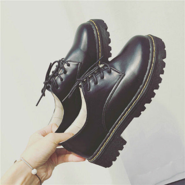 England Style Women's Oxfords Fashion Autumn Shoes Woman Round Toe Flats Platform Casual Vintage Shoes punk black calzado mujer