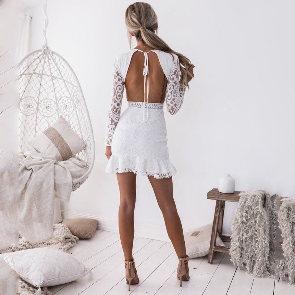 Moxeay White Lace Hollow Out Dress Women Elegant Wedding Party Long Sleeve Backless Slim Hollow Waist Bodycon Trumpet Mini Dress in Dresses from Women 39 s Clothing