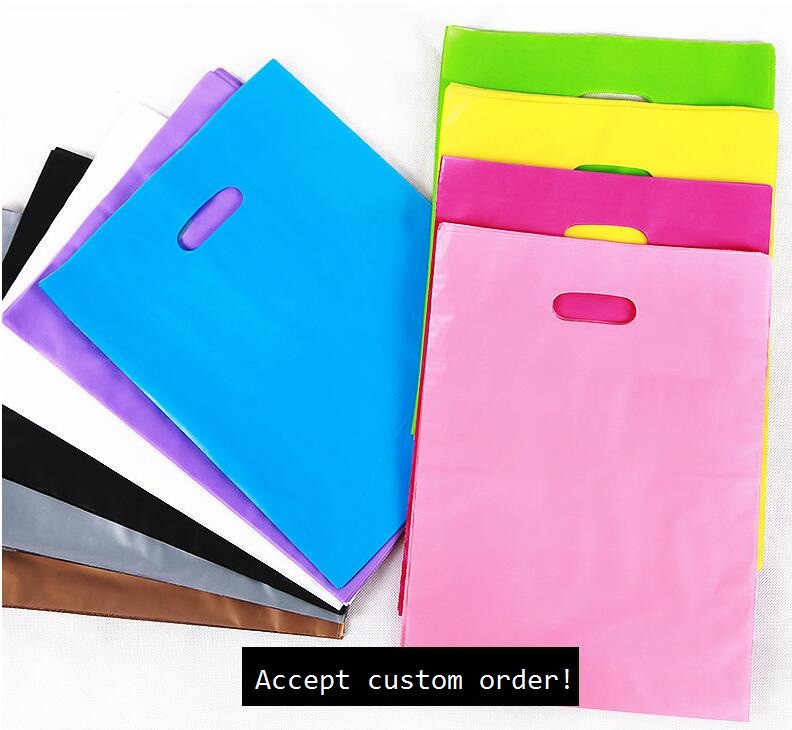 50pcs Colorful Large Plastic Shopping Bags with Handle, Festival gift bag package ( Custom Logo Order Accept MOQ 50pcs bags )