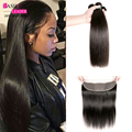 Brazilian Hair 3 Bundles Straight Hair With Lace Frontal Closure With Bundles Hair Ear To Ear Lace Frontal Closure With Bundles