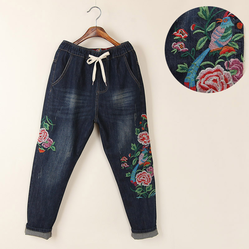 Vintage national trend plus size loose embroidery flower jeans female harem pants trousers 2017 autumn jeans women national style vintage printed flower jeans high waist female harem pants loose plus size lady trousers