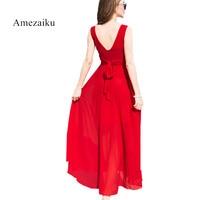 2018 Runway Summer Sundress Black White Long Maxi Dress Women Bohemian Red Blu Beach Dresses Sleeveless
