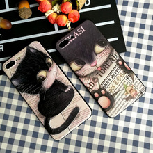 IMIDO Black Cat TPU Soft Silicone Case For iphone 6/7/8/X /Xs/ Xsmax/Xr Simple Cartoon New Anti-fall Fashion Phone